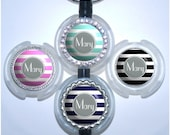 Stethoscope Name Tag - Personalized Modern Stripes Id Tag in 6 Colors, Rhinestone Bling Id (A006)