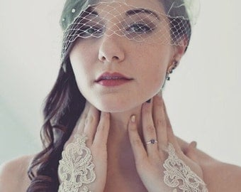 Bridal birdcage veil, mini tulle veil, blusher veil, 9 inch birdcage veil, mini veil, birdcage veil, wedding veil, bridal veil, veil, ivory