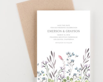 Farmhouse Wildflowers Save The Date, Bridal Shower, Wedding Invitation