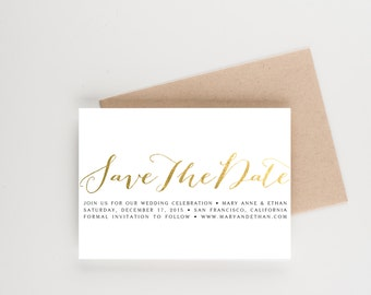 Calligraphy Gold Foil Save The Date, Wedding Announcement or Bridal Shower