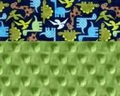 Dinosaurs Minky Baby Blanket Boy, Personalized Baby Blanket- Blue Bright Green Brown Minky Blanket