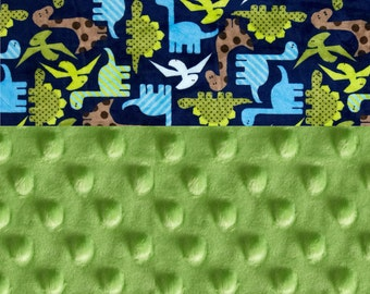 58 x 70 in Dinosaurs Minky Adult Blanket,  Personalized Blue Bright Green Brown
