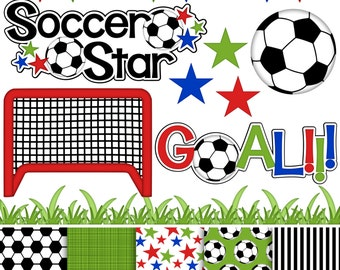 Soccer Star Digital Clipart & Paper - Set of 14 - Flags, Grass, Net, Titles, Stars, Goal - Instant Download - Item#8255