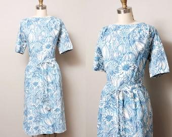 1950s Dress - Blue Floral 50s Wiggle Dress