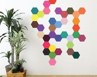 Wall Decals 36 Mod Solid Colors Hexagons, Modern Geometric Art Removable and Reusable Fabric Decals