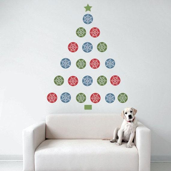 Christmas Tree Snowflake Dots Wall Decal