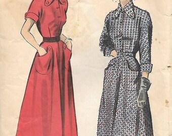 Advance 5221 - 1940s Shirtwaist Dress Unprinted Sewing Pattern Cuffed Sleeves Patch Pockets