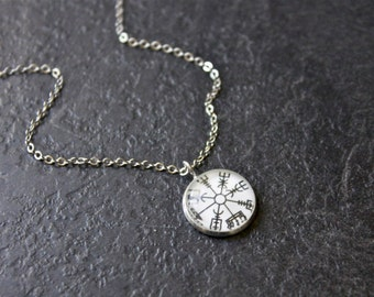 Vegvisir Necklace - Silver Icelandic Viking Compass Pendant - Small Glass Dome Iceland necklace - Symbol Rune