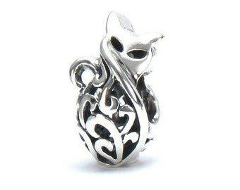 Petite Kitty Cat Filigree Scroll Bead Charm - Sterling Silver - Fits Pandora and Compatible European Brand Bracelets - BELLA FASCINI® M-142