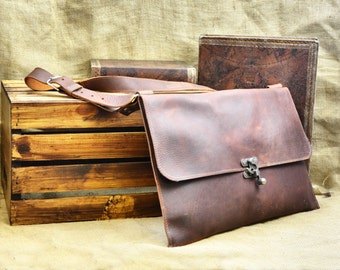 Leather Messenger Bag - Men's Leather Satchel - Distressed Leather Laptop Bag - Leather School Bag - Leather Book Bag