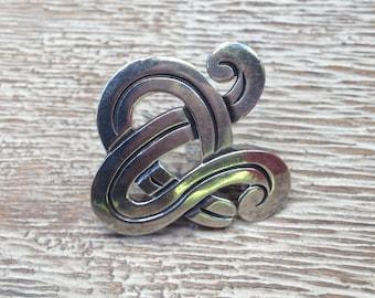 Mexican Silver Brooch Modernist Reveriano Castillo Reveri