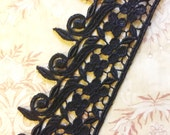 "BLACK Drop Leaf Shabby Venise Lace Trim 1.75"" wide for Fabric Journals, scrapbooking"