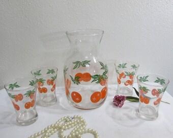 Orange Juice Carafe with 4 Matching Glasses