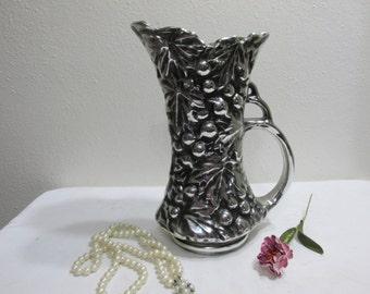McCoy Pottery Pitcher Vase Silver Grapes