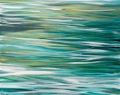 Large Ocean Abstract Painting, Acrylic 24x36 Canvas Wall Art, Contemporary Beach Home Decor, teal turquoise gold white, water reflections