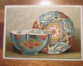 Antique Unusual Oriental Motif New-Year Greeting Card Trade Card | Plate and Bowl Oriental Motif