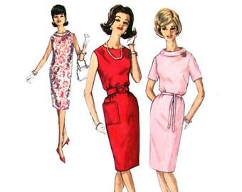 1960s Shift Dress Pattern Simplicity 4855 Roll Collar Dress Tie Belt Womens Sewing Pattern Bust 32 1/2 Junior Petite