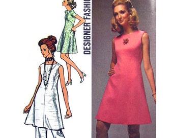 Womens Dress & Pants Pattern Simplicity 8775 Sleeveless or Short Sleeve Dress Trousers Womens Sewing Pattern Bust 34 Vintage Pattern