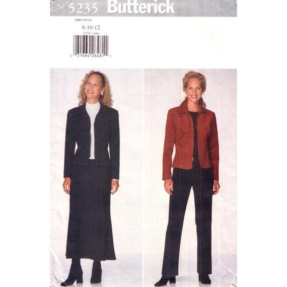 Jacket Skirt Pants Pattern Butterick 5235 Zipper Front Trouser Suit Size 8 10 12