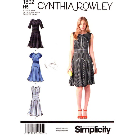 Cynthia Rowley Sewing Patterns: Womens Dress Pattern Simplicity 1802 Retro Flared Dress Godet