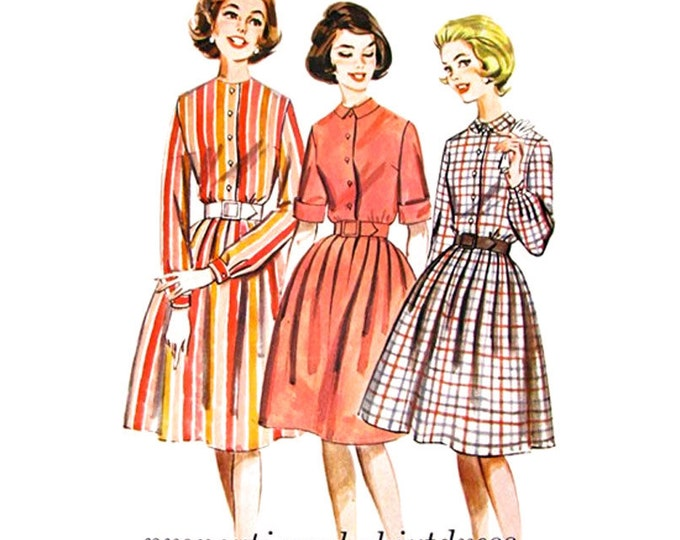 1960s Shirtdress Pattern Butterick 2322 Height Proportioned Full Skirt Dress Size 12 Vintage