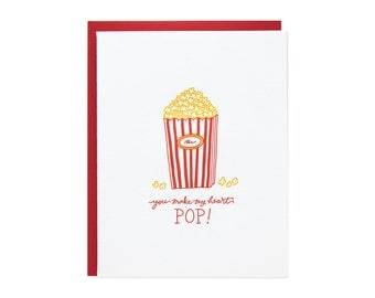 Popcorn Heart Letterpress Card