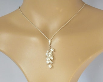 White pearl cluster necklace, bridal white pearl necklace, sterling silver wedding necklace