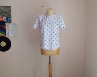 70s White Red Polka Dot Top Short Sleeve Blouse Small Medium