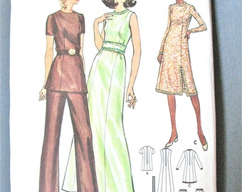 Uncut 70s Butterick 6468  Misses' and Half Size Evening Dress, Tunic and Pants. Semi-fitted A-line dress  Vintage Sewing Pattern  Bust 37