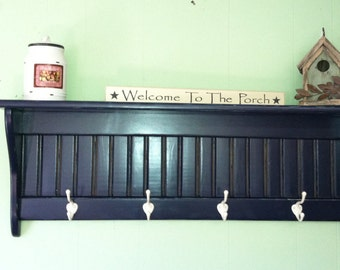 Rustic Country Coat Rack Wall Shelf Distressed Navy Blue Primitive Wall Rack