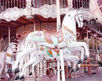 Carousel Horses, Paris Photography, Paris Merry Go Round Horses, Baby Girl Nursery Decor, Paris Pink Carousel Horses, Paris Carousel Prints