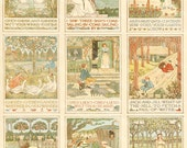 Mother Goose Digital Collage Sheet, Nursery Rhymes Illustrations, Instant Download, Vintage Printable Scrapbook Pages