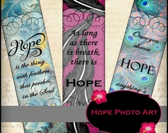 Hope Victorian Feathers Bookmarks Digital Collage Sheet 1.6x6.3 greeting cards hang tags paper supplies - U Print 300dpi jpg