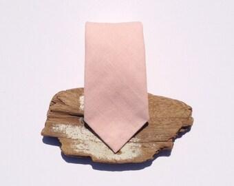 Pale Pink Mens Necktie - Monogrammed - personalized - Men's Tie - neckwear - grooms tie - Grooms Gift