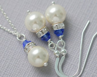Maid of Honor Gift, Bridesmaid Gift Set, Swarovski Ivory Pearl and Sapphire Crystal Jewelry Set, Bridesmaid Gift, Bridesmaid Jewelry