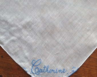 White Linen Handkerchief - Catherine in Blue with Blue Scalloped Corner