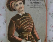 Fancy Lady-Feather Hat-Victorian Trade Card-C E Longley Clothier-New Haven,CT