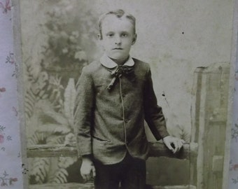 Shabby Young Boy-Fashion-Bow Tie-Rustic Fence-Antique Cabinet Photo-Detroit,MI