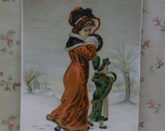 Lautz Bros Soap-Victorian Advertising Trade Card-Girls in Snow-Fur Coats-Hats-1800's