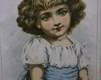 Pretty Blue Eyed Girl-Victorian Trade Card-Vienna Roller Mills-Flour-Peoria,IL
