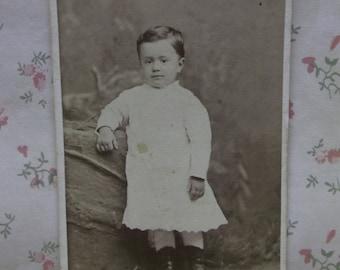 Darling Little Boy in White Dress-Button Boot-Antique CDV Photo-San Francisco,CA