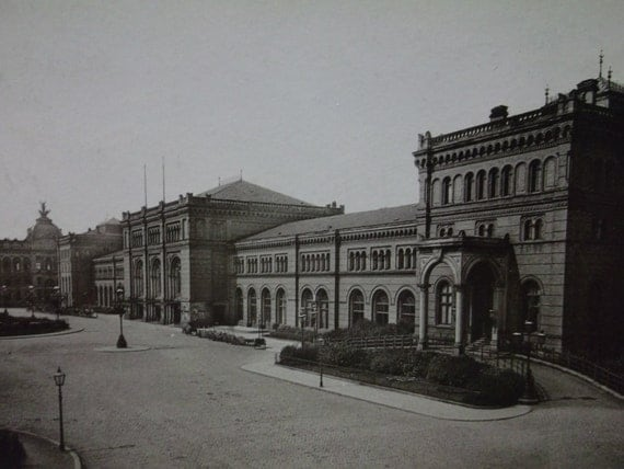 1892 Hannover Germany Train Staion Depot Architecture Antique