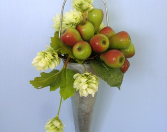 Hanging Floral Arrangement, Flowers and Fruit, Indoor Garden, Millinery Pears, Tin Cone
