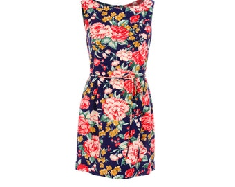 SAMPLE SALE XXS Maureen mini dress from The Domestic Dame - 1960s style sleeveless mini dress with waist tie - rayon navy floral print