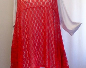Coco and Juan, Plus Size Top, Plus Size Lagenlook, Layering Tunic Top, Plus Size Tunic, Jumper Red Lace Size 1 Fits 1X,2X  Bust to 50 inches