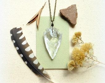 Crystal arrowhead necklace quartz arrowhead necklace crystal necklace bohemian jewelry boho mens necklace