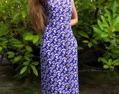 Vintage//Retro Psychedelic Purple Mushroom Maxi Dress//Knit//Novelty Print//Mint Condition//small-medium//with pockets