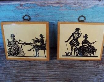 Vintage Victorian Silhouette Picture Set Plaques Lacquer Wood Black Beige Shabby chic Miniatures