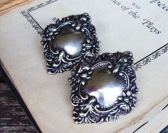 Vintage Art Nouveau Style Silver Earrings Pierced Earrings Silver Plate Baroque Medallions 1970s 1980s