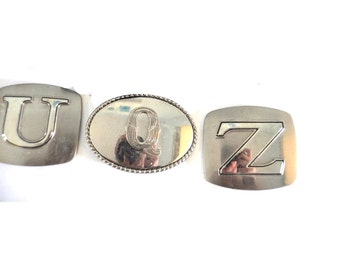 Large Belt Buckles mens 70s 80s Choose from Letters U Q and Z Metal Brass Unique Initials Name Gift Brother Father